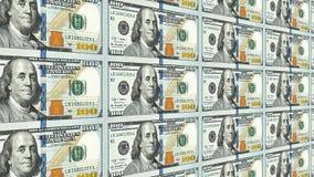 Nuevos 100 billetes de dólar en perspectiva de la distancia 3d stock de ilustración
