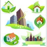 Nuevos bio iconos de la casa verde y de la ciudad Imágenes de archivo libres de regalías