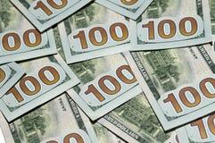 Nuevos cientos billetes de dólar Foto de archivo libre de regalías