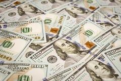 Nuevos cientos 100 billetes de dólar Imágenes de archivo libres de regalías