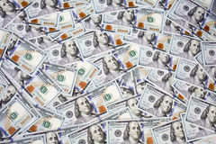 Nuevos cientos billetes de dólar Fotografía de archivo