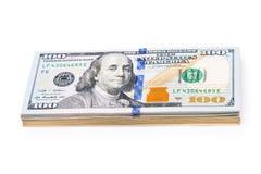 Nuevos 100 dólares por cierre para arriba Imágenes de archivo libres de regalías