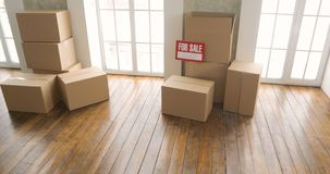 Nuevos dueños caseros que desempaquetan las cajas concepto móvil del día cajas de cartón grandes en nuevo hogar
