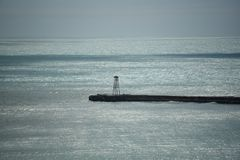Nuevos embarcadero y luz del puerto de Selandia en Oamaru fotos de archivo libres de regalías