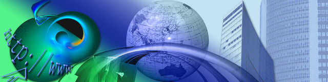 Nuevos horizontes y comercio electrónico Imágenes de archivo libres de regalías