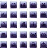 Nuevos iconos azul marino de cristal, botones Imágenes de archivo libres de regalías