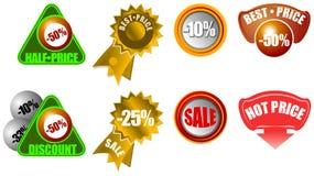 Nuevos iconos de la venta al por menor Info de la venta Fotografía de archivo libre de regalías
