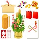 Nuevos iconos japoneses de Yearâs Imágenes de archivo libres de regalías