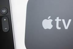 Nuevos medios de TV de Apple que fluyen el microconsole del jugador Fotos de archivo libres de regalías