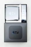 Nuevos medios de TV de Apple que fluyen el microconsole del jugador Imagen de archivo