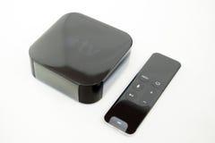 Nuevos medios de TV de Apple que fluyen el microconsole del jugador Imagen de archivo libre de regalías