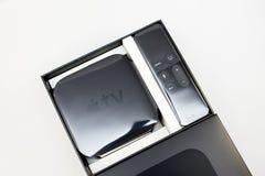 Nuevos medios de TV de Apple que fluyen el microconsole del jugador Foto de archivo