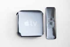 Nuevos medios de TV de Apple que fluyen el microconsole del jugador Fotografía de archivo libre de regalías