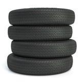 Nuevos neumáticos negros 3d Fotografía de archivo