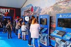 Nuevos productos del juego de la compañía Sony Foto de archivo