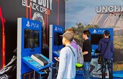 Nuevos productos del juego de la compañía Sony Imágenes de archivo libres de regalías