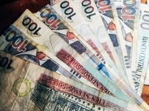 100 nuevos soles banknotes. Soles nuevos is the national currency of Peru Stock Photography