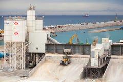 Nuevos terminales bajo construcción, puerto Tanger Med 2 Fotos de archivo libres de regalías