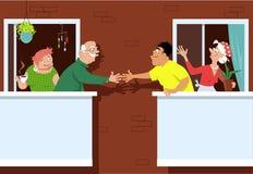 Nuevos vecinos en el pueblo del retiro libre illustration
