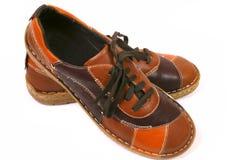 Nuevos zapatos marrones Imágenes de archivo libres de regalías