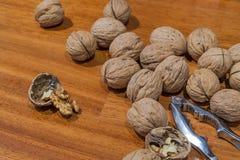 Nuez descascada otras nueces y cascanueces Foto de archivo libre de regalías
