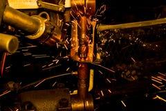 Nuez industrial del punto de la soldadura Foto de archivo libre de regalías