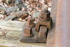 Nuez y perno en ferrocarril Foto de archivo libre de regalías