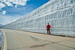 Nufenen pass - Switzerland. Wall of snow on the road to Nufenen pass stock photography