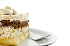 Nugatkuchen mit Gabel Stockfoto