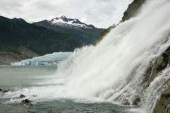 Nugget Falls and Mendenhall Glacier, Juneau Alaska Royalty Free Stock Images