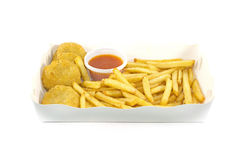 Nugget and french fries. With Tomato sauce Royalty Free Stock Photos