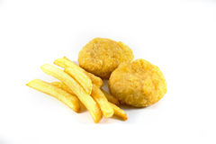 Nugget and french fries. On white background Stock Photography