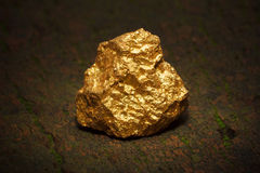 Nugget gold. Closeup of big gold nugget Royalty Free Stock Images