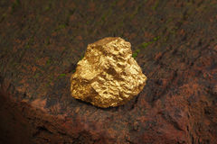 Nugget gold. Closeup of big gold nugget Stock Photos