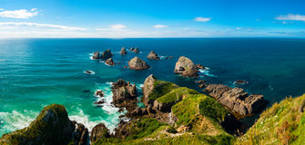 Nugget Point. Is located in the Catlins area on the Southern Coast of New Zealand, Otago region. The area is famous for many rock islands - nuggets - in the sea royalty free stock images