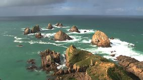 Nugget point at the Catlins in New Zealand stock video footage
