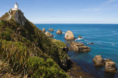 Nugget Point lighthouse. Light house on nugget point in the catlins, new zealand Stock Photo