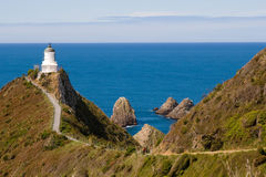 Nugget Point lighthouse Royalty Free Stock Photo