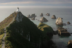 Nugget Point lighthouse, Catlins, New Zealand stock photography