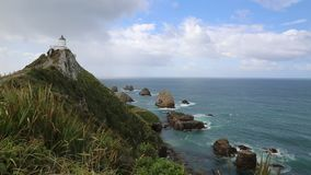 Nugget Point lighthouse stock video
