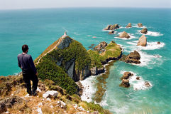 Nugget Point Lighthouse, New Zealand. Man observing Nugget Point Lighthouse on a clear sunny day, New Zealand stock image