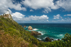 Nugget point Lighthouse, New Zealand. Nugget Point Lighthouse in the Catlins, South Island in New Zealand Royalty Free Stock Image