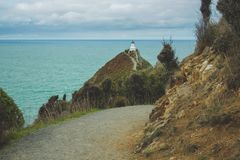 Nugget Point Lighthouse viewpoint in Otago, South Island, New Zealand royalty free stock photo