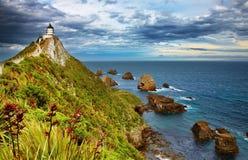 Nugget-Punkt-Leuchtturm, Neuseeland Lizenzfreies Stockbild