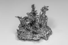 Nugget of a solidified Metall in black and white Stock Photos