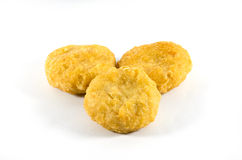 Nugget. Three nuggets on white background Royalty Free Stock Photography