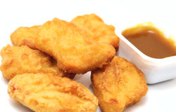 Nuggets. The chicken nuggets with sauce Stock Photos