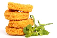 Nuggets. Tasty chicken nuggets with herbs stock photo