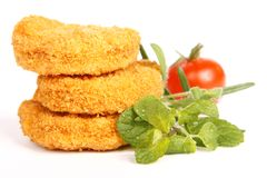Nuggets. Tasty chicken nuggets with tomato stock photography