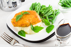 Nuggets of chicken, mashed potatoes and herbs Royalty Free Stock Photo